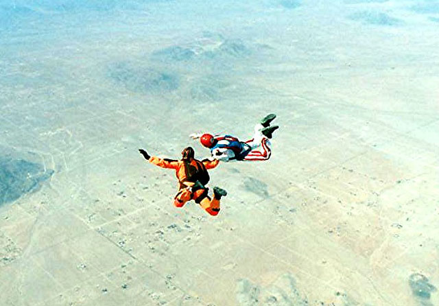 Author John Bull pins Mike on his 2000th jump.